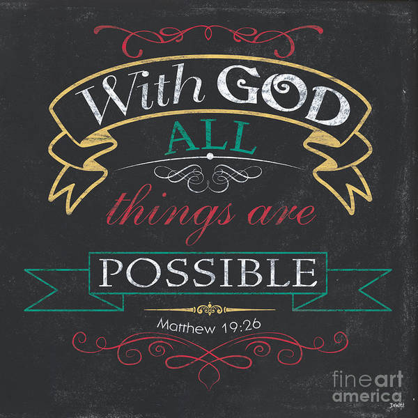 Bible Wall Art - Painting - With God by Debbie DeWitt