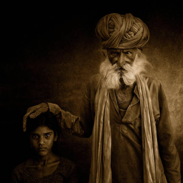 India Photograph - With Grandpa by Fadhel Almutaghawi