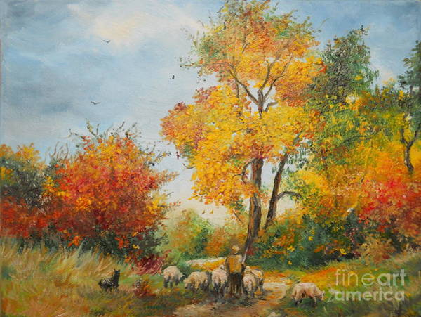 Painting - With Sheep On Pasture  by Sorin Apostolescu