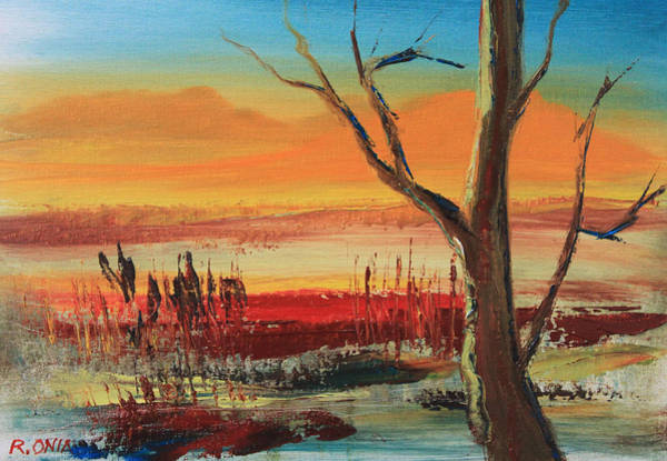 Sand Creek Painting - Withered Tree by Remegio Onia