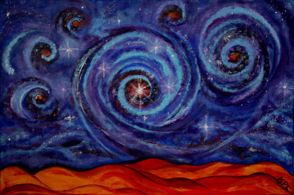 Star Cluster Painting - Witness by Kathy Peltomaa Lewis