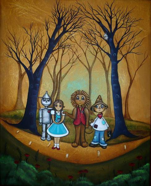 Yellow Brick Road Wall Art - Painting - Wizard Of Oz - If I Only by Charlene Murray Zatloukal