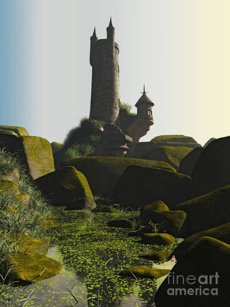 Fairy Pools Digital Art - Wizards Tower And Pool by Fairy Fantasies