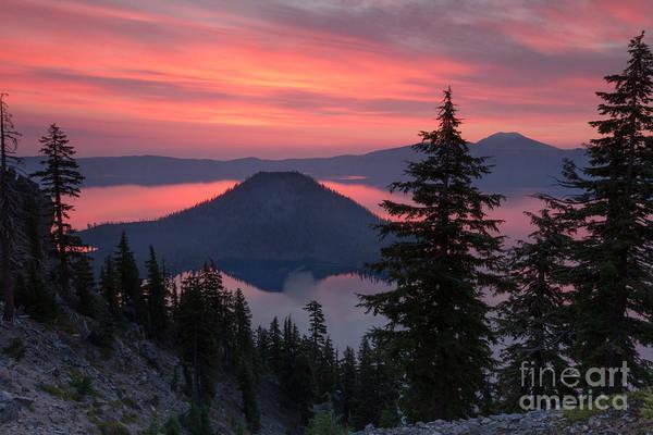 Crater Lake Np Photograph - Wizzard Island Sunrise 1 by Dan Hartford