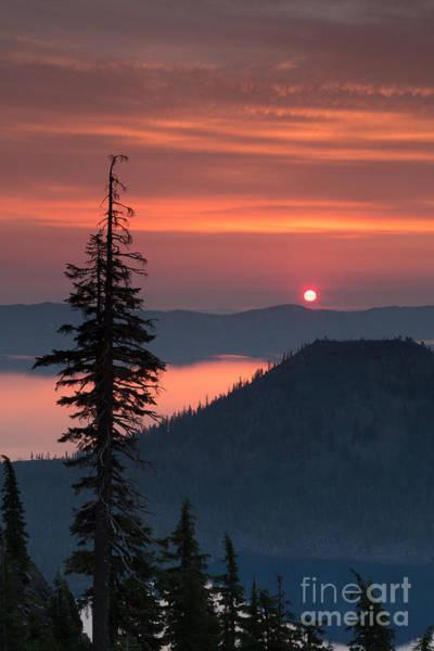 Crater Lake Np Photograph - Wizzard Island Sunrise 3 by Dan Hartford