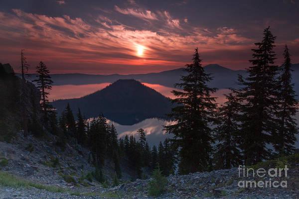 Crater Lake Np Photograph - wizzard Island sunrise 7 by Dan Hartford
