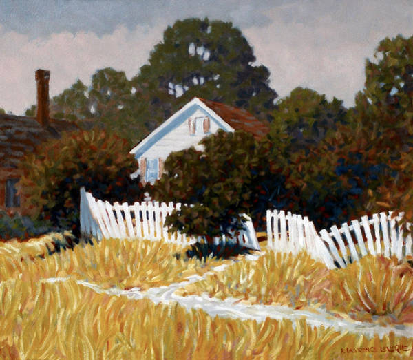 Neighborhood Painting - Wobbly Fence by Kevin Lawrence Leveque