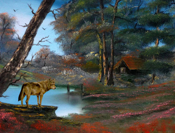 Merge Painting - Wolf Alert. by Cynthia Adams
