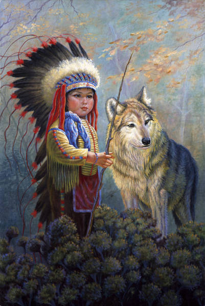 Forest Spirit Wall Art - Painting - Wolf Boy by Gregory Perillo
