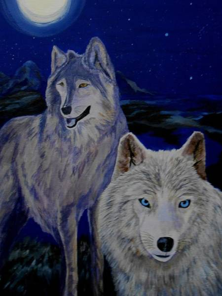 Wall Art - Painting - Wolf Companions By Moonlight by Janne Henn