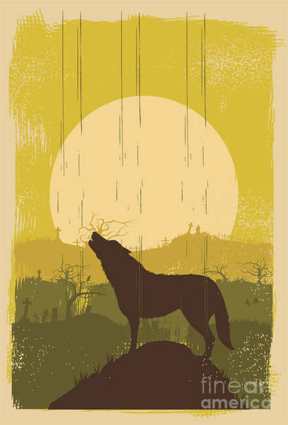 Wolf Howling Background, Vector Art Print by Seita