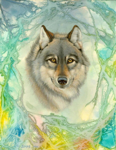 Wall Art - Painting - Wolf In Abstract by Paul Krapf