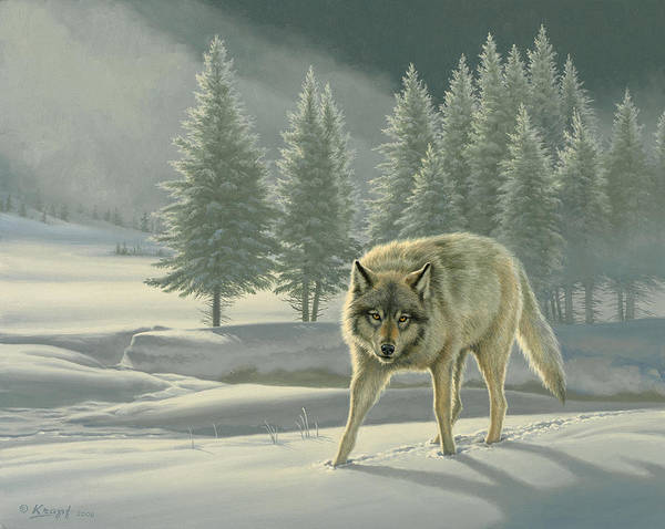 Wall Art - Painting - Wolf In Fog    by Paul Krapf