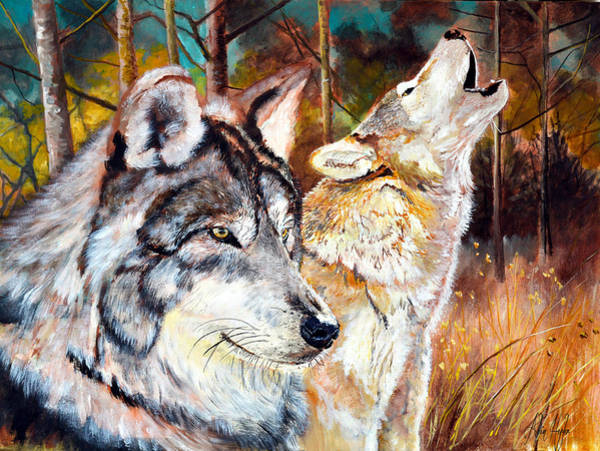 Interaction Painting - Wolf Pair 2 by Alvin Hepler