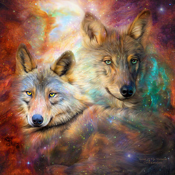 Wall Art - Mixed Media - Wolf - Spirit Of The Universe by Carol Cavalaris