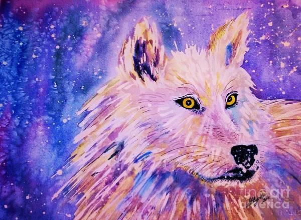 Arctic Wolf Painting - Wolf  - White Wolf  - Aurora Nights by Ellen Levinson