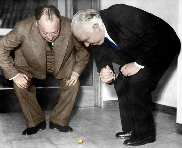 Photograph - Wolfgang Pauli And Niels Bohr by Photograph By Erik Gustafson With Permission From The Gustafson Family, Coloured By Science Photo Library, Courtesy Neils Bohr Archive, American Institute Of Physics