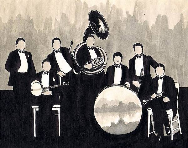 Sax Drawing - Wolverines B And W by Mel Thompson