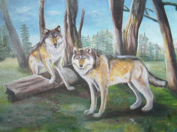 Painting - Wolves In The Forest by Thomas J Herring