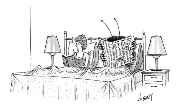 Newspaper Drawing - Woman And A Large Insect Read In Bed by Tom Cheney