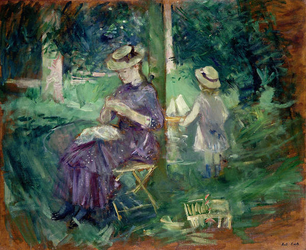 Seat Painting - Woman And Child In A Garden by Berthe Morisot
