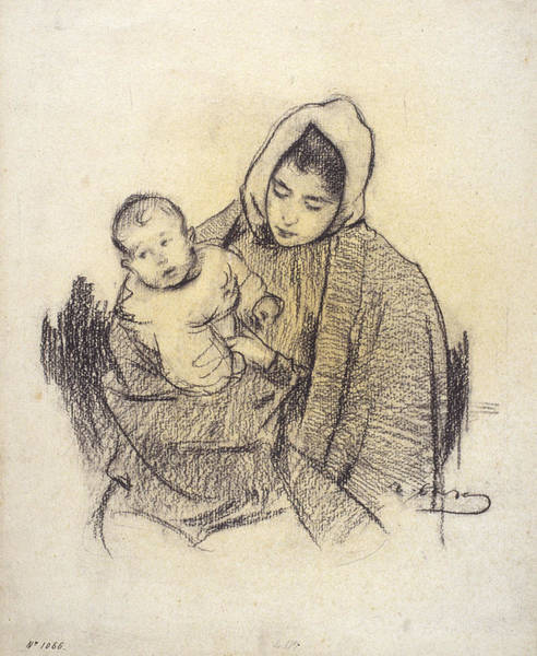 Chestnut Hair Drawing - Woman And Child by Ramon Casas