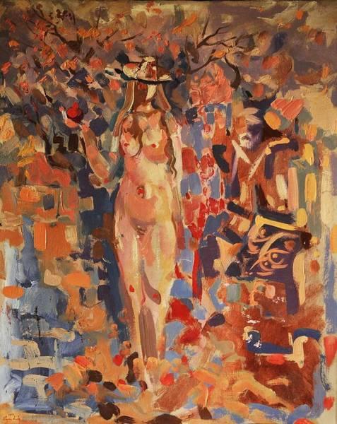 Pomegranate Painting - Woman And Pomegranate by Meruzhan Khachatryan