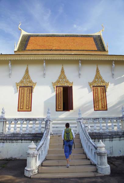 Phnom Penh Wall Art - Photograph - Woman At Silver Pagoda In Royal Palace by Ian Trower / Robertharding