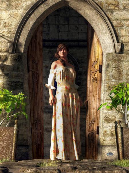 Digital Art - Woman At A Medieval Door by Daniel Eskridge