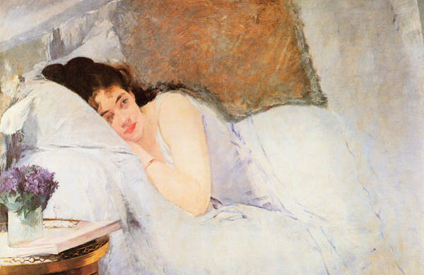 Intimate Portrait Wall Art - Painting - Woman Awakening by Eva Gonzales