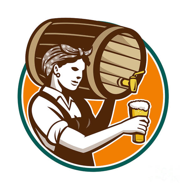 Pouring Digital Art - Woman Bartender Pouring Keg Barrel Beer Retro by Aloysius Patrimonio