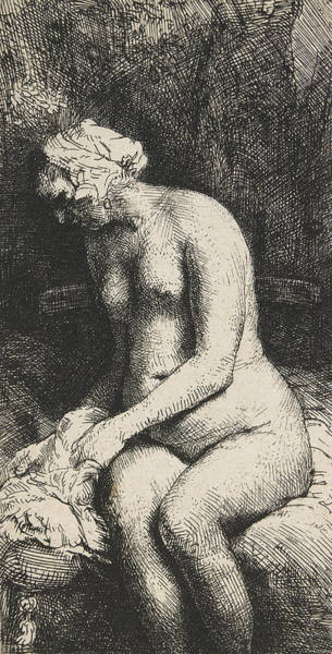 Beautiful Girl Drawing - Woman Bathing Her Feet At A Brook by Rembrandt