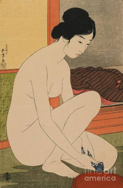 Unclothed Wall Art - Painting - Woman Bathing Taisho Era by Goyo Hashiguchi