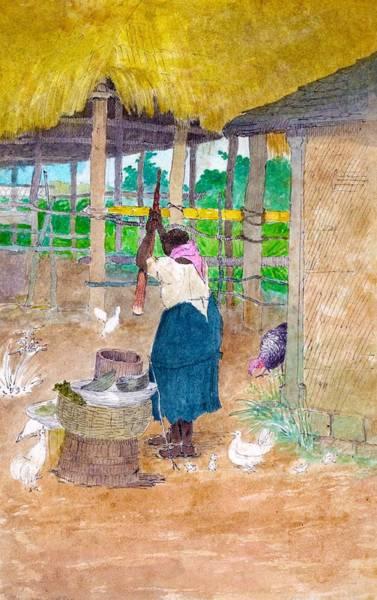 Jamaica Digital Art - Woman Beating Cassava Jamaica by William Berryman