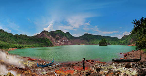 Rauch Wall Art - Photograph - Woman By Taal Volcano Crater Lake by Per-Andre Hoffmann