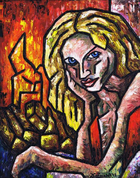 Wall Art - Painting - Woman By The Fire by Kamil Swiatek