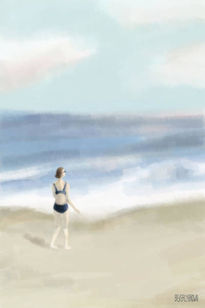 Coastal Scene Painting - Woman By The Sea by Beverly Brown