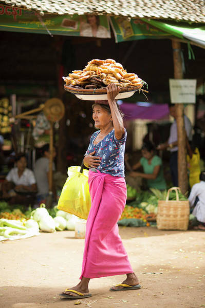 Myanmar Photograph - Woman Carrying Foods In Basket On Her by Cultura Rm Exclusive/yellowdog