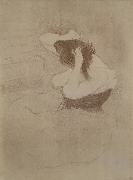 Impressionist Drawing - Woman Combing Her Hair, From Elles, 1896 by Henri de Toulouse-Lautrec