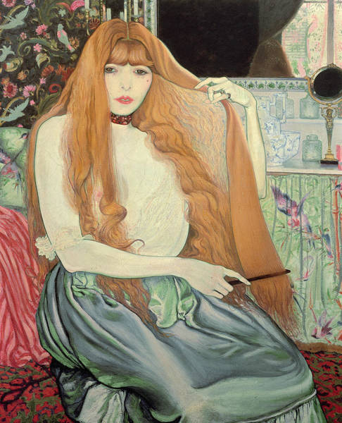 Dressing Painting - Woman Combing Her Hair by Louis Anquetin