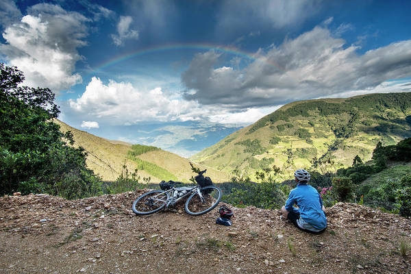 Boyaca Photograph - Woman Cyclist Taking Break To Look by Brent Olson