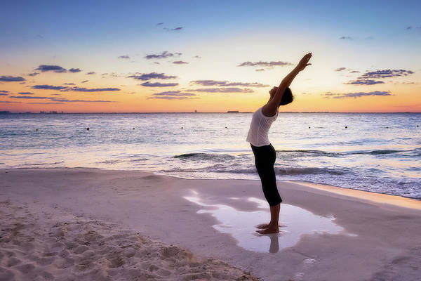 Isla Mujeres Photograph - Woman Doing Yoga Poses On The Beach by Howard Snyder