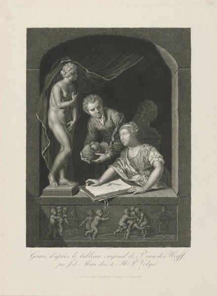 Wall Art - Drawing - Woman Drawing In A Window, Johannes De Mare by Johannes De Mare
