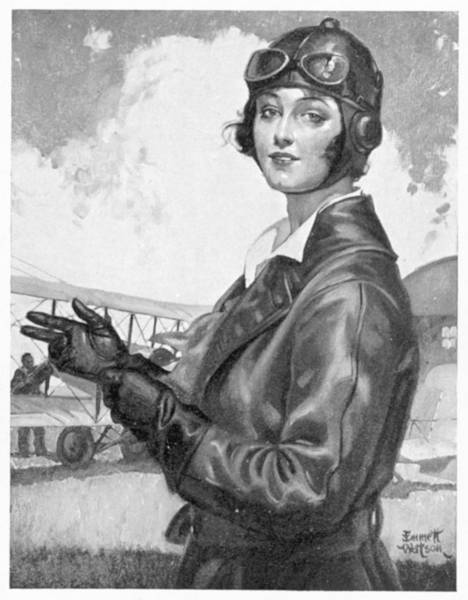 Wall Art - Drawing - Woman Dress In Clothing For Flight by Mary Evans Picture Library