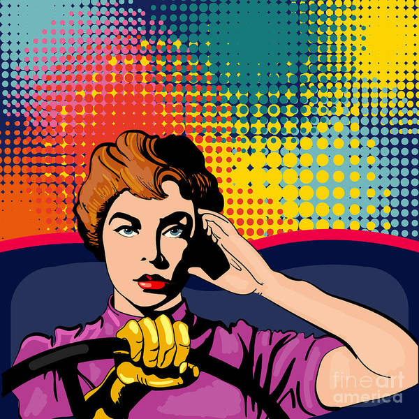 Beautiful Woman Wall Art - Digital Art - Woman Driving A Car Pop Art Vector by Intueri