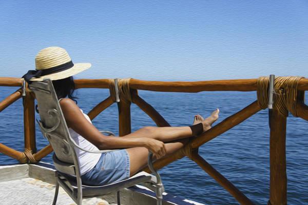 Beautiful Woman Photograph - Woman Enjoying The View  by Aged Pixel