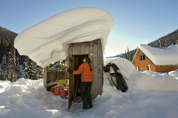 Jasmin Photograph - Woman Entering Outhouse With Big Snow by Whit Richardson