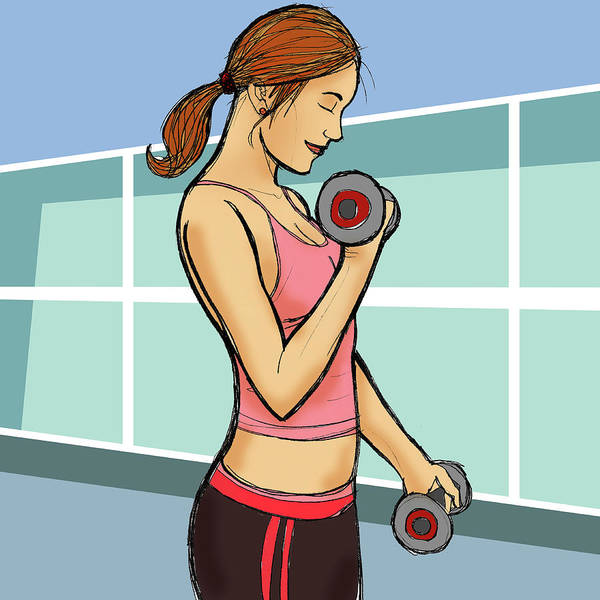 Physical Training Wall Art - Photograph - Woman Exercising With Dumbbells by Fanatic Studio / Science Photo Library