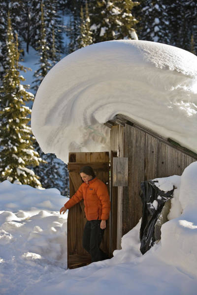 Jasmin Photograph - Woman Exiting Outhouse With Big Snow by Whit Richardson