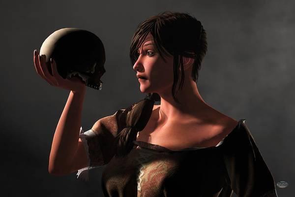 Digital Art - Woman Facing A Skull by Daniel Eskridge